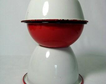 Enamelware Bowls 3 White Red Metal Graniteware Vintage Kitchen