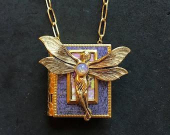 Fairy - miniature book necklace
