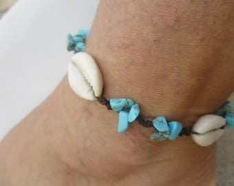 Anklet Turquoise howlite gemstone beads with Natural Cowrie shells.Hand Knotted on Brown Cord that is both Waterproof and Adjustable in size