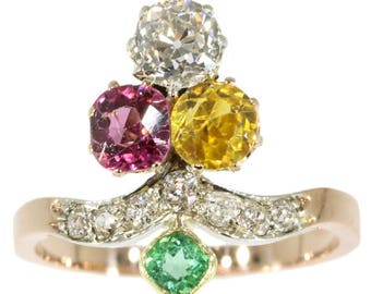 Gemstone engagement ring 18k rose gold diamond yellow beryl pink green tourmaline old European cut diamonds .92ct antique Victorian ring