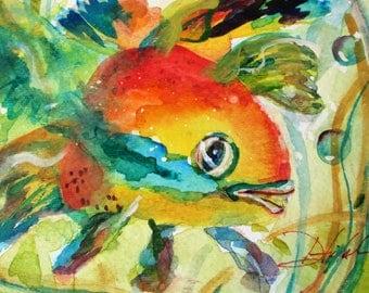 Fish watercolor 5x7 original painting Art by Delilah