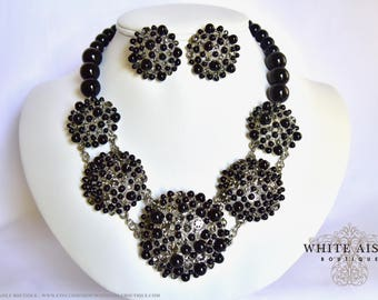 Black Pearl Bridal Jewelry Set Crystal Wedding Statement Necklace Earrings Vintage Inspired Prom Evening Pageant Jewelry