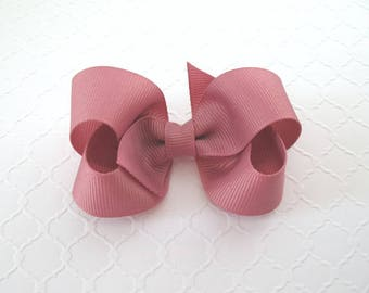 "Mauve Hair Bow ~ 3"" Mauve Boutique Bow ~ Toddler Girl Hair Bows"