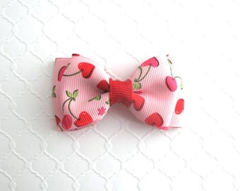 "Valentine's Day Hair Bow ~ Toddlers / Girls Cherry Hearts 3"" Hair Bow Clip"