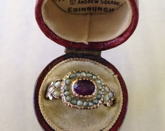 Antique Georgian Amethyst & Seed Pearl Ring in 14k Gold - Sz 7.25
