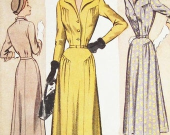 On Sale Sz 16/Bust 34 - Vintage 1940s Dress Pattern - McCall 7854 - Misses' One Piece Dress