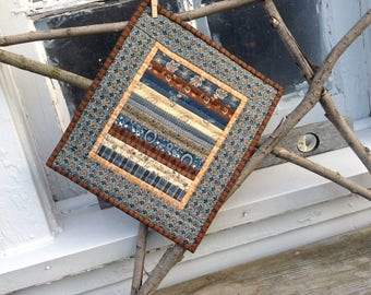 "MINIATURE CIVIL WAR Reproduction Quilt, Blues and Browns, 9 1/2"" x 11"", Striped Quilt, Quilted By Hand, Quilted Candle Mat, Mini Quilt"
