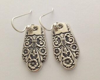 Silver Dangle Earrings Precious 1941 Vintage Silverplate Spoon Jewelry
