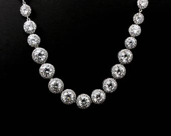 bridal wedding jewelry necklace christmas pageant party gift clear white AAA cubic zirconia rhodium platinum pave halo round choker neckace