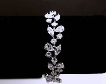 bridal jewelry bracelet prom wedding prom gift wedding jewelry pageant vine Clear white AAA cubic zirconia multi shape vine marquise pears