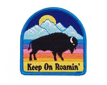 Keep On Roamin' Retro Style Iron-on embroidered Patch by Lucky Horse Press // handmade in USA