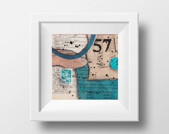 "57 - an original mixed media collage - 4"" x 4"""