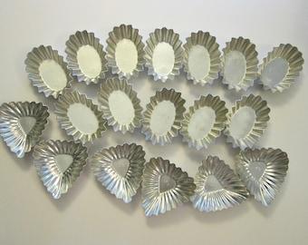 18 vintage aluminum molds - candy molds, tartlet molds - made in Sweden