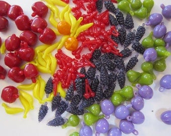 150 vintage beads - FRUIT beads, fruit salad beads - bright, colorful, plastic