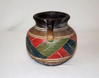 3 Vintage Mexican Black Earthen Ware Pots