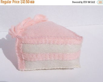 ON SALE Slice of cake felt food- cream with light pink icing (or choose your own)