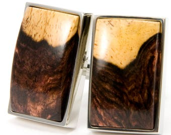 Unique Honduran Rosewood Burl Silver Cuff Links - Wooden Cufflinks - Unique Gift Idea for 5th Anniversary, Fathers Day, Wedding