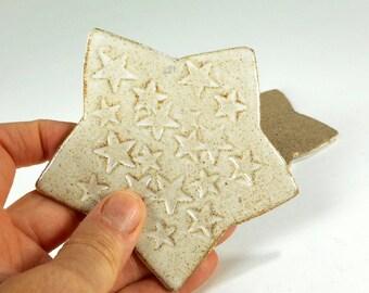 Ceramic star shaped tea bag holder spoon rest set of 2, ceramic star spoon rests, pottery spoon dish, stoneware tea bag holder set of 2