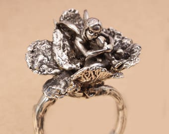 Fairy Jewelry Fairy Ring Branch Ring Fine Silver Ring Fairy Garden Fungus Ring