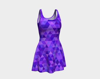 Tri Purple Skater Dress | Size XS S M L XL | Bold Design Pattern | Party Dancing Ice Roller Skating | Short Fitted Sleeveless Mini Dress