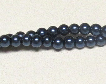6mm Navy Blue Glass Pearls - 70 pieces loose - High quality 6mm glass pearls #6NGP