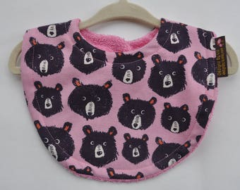 Baby Girl Pink and Black Bears with Terry Cloth Snap Bib