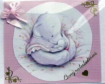 "Hand Crafted 3D Decoupage Card ""Hello You"" Congratulations (2121), Layered Card, Birthday Card, Baby Shower Card, Birth of a Baby, Elephant"