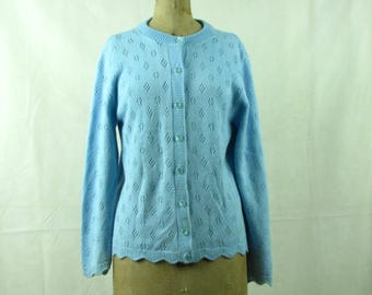 Vintage Light Blue Aqua knitted Cardigan Sweater 1970s Village Fair Medium