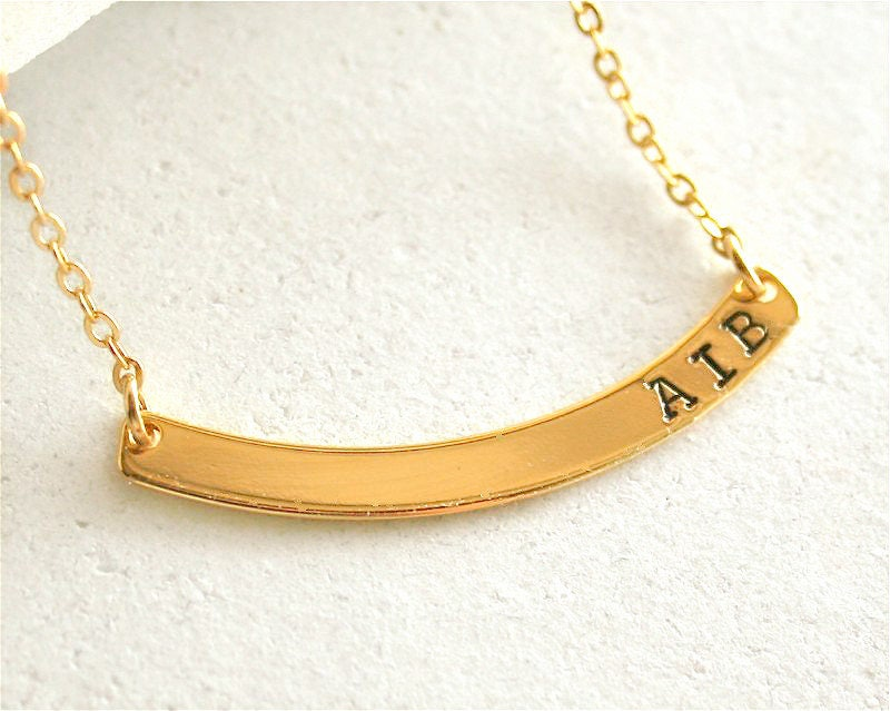 custom curved bar necklace gold bar personalized initial name bar