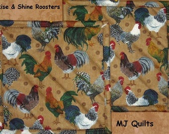 """Pick a Print-Set of 2 (8"""") Handmade Hot Pads/Pot Holders-Rooster-Insulated Hot Pads/Pot Holders Made in USA-MJQuilts"""