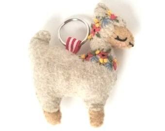 Floral Alpaca Keychain | Felt Plush, Bag Accessory, Bright, Colorful, Llama, Eclectic, Unique, Birthday Gift, Girlfriend Present, Cute |