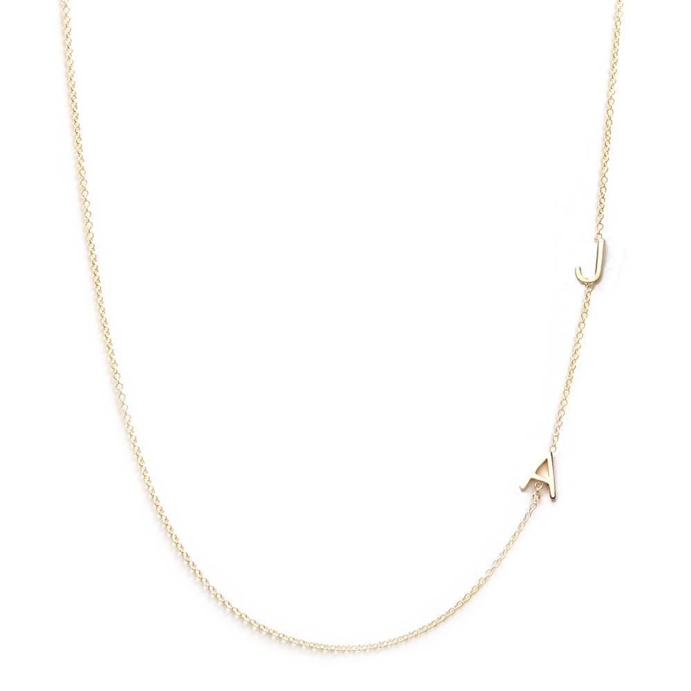 Tiny two letter necklace 14k solid gold gold letter for 14k gold letter necklace