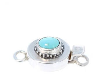 Summer Sale : ) Armenian Turquoise Sterling Silver Clasp Oval 7x5.5mm New World Gems