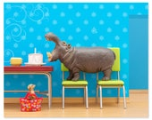 Hippo animal art print: Hungry, Hungry Hippo