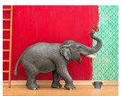 FALL SALE Elephant animal art print: Big Job