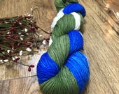 FOREST & SKY, Hand Dyed yarn 75/25 superwash merino wool nylon fingering sock yarn, blue, green, variegated, white