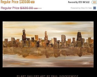 "17% OFF /ONE WEEK Only/ Chicago Scape Knife Huge modern Abstract by Paul Juszkiewicz 48""x24"" brown cognac"