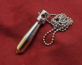 Steampunk jewelry, lathe turned bomb necklace