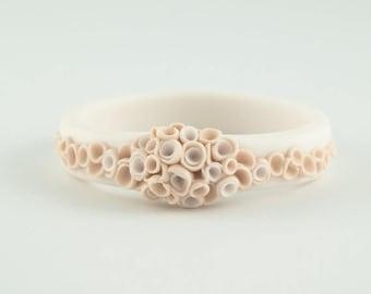 SALE Statement Flower Bangle Bracelet Champagne Ecru Ivory  White , Porcelain Ceramic Bracelet Bangle La Angosta  Bold Statement Jewelry Spr