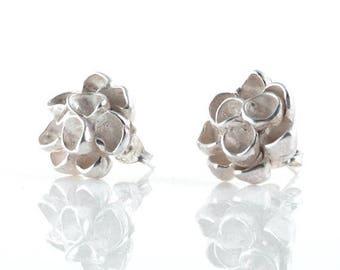 SALE Delicate Blossom Sterling Silver Flower Earrings, Botanical Stud Earrings, Post Earring Flowers, Bridal Jewelry, Bridesmaid Gift, Weddi