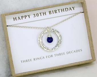 30th birthday gift, blue sapphire necklace, September birthstone necklace, 30th birthday necklace for daughter - Lilia