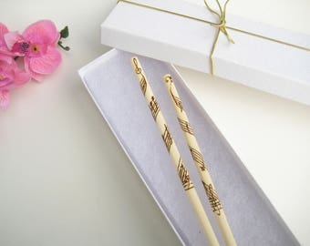 Music Engraved Chopsticks - Personalized chopsticks - wooden chopsticks - PYROGRAPHY - Unique gift - Gift for Her - Korean chopsticks - GIFT
