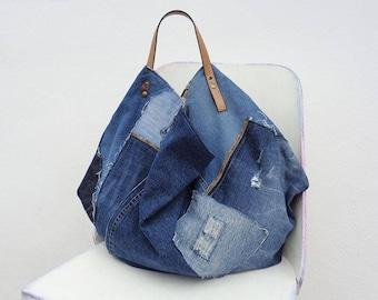 Denim bag shopper tote oversized large handbag crazy bag weekender up-cycled jeans