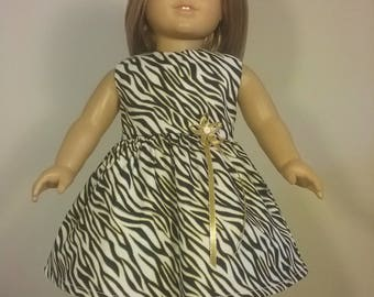 18 inch Doll Clothes Black White Gold Zebra Print Dress will fit like American Girl Doll Clothes