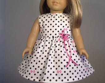 18 inch Doll Clothes Black & White Polka Dot Print Dress fits American Girl Doll Clothes