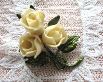 Vintage Celluloid & Enamel Rose Brooch