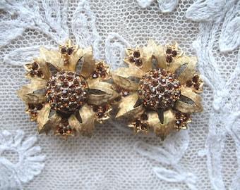Vintage Flower Rhinestone Earrings ~ Clip On ~ Charel