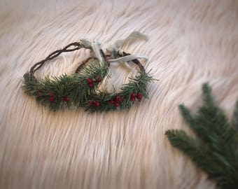Tieback Holiday Photo Prop, Seasonal Flower Crown, Holiday Crown, Photo Session