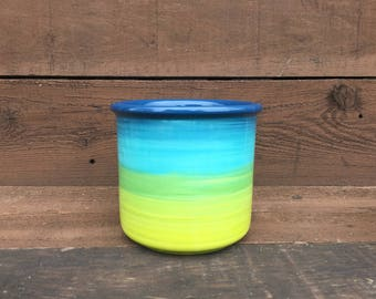 Ceramic Crock or Utensil Holder - Large - Peacock Ombre Colorful Gradient Design - Shades of Ocean Blues - Turquoise Like Chartreuse