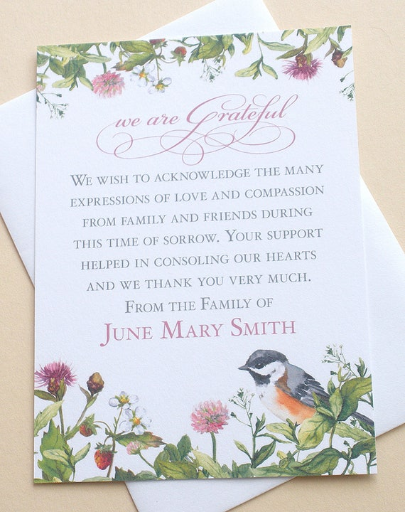 Funeral Thank You Cards with Flowers and a Bird Custom